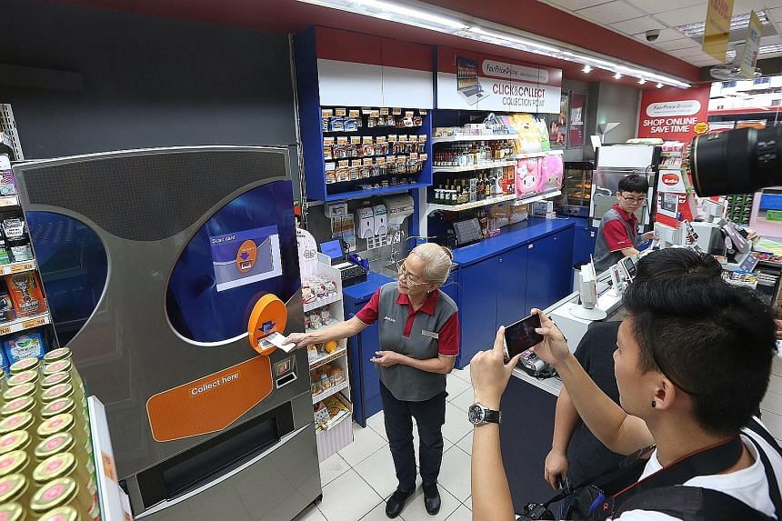 NTUC FairPrice will pilot an opaque cigarette dispensing machine at its FairPrice Xpress outlet in Peace Centre for three months. Retail assistant Ng Mee Lan demonstrates how the dispensing machine works.
