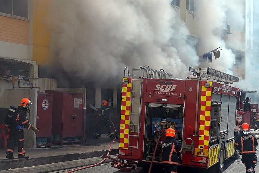 A fire broke out in a coffee shop at an HDB block in Bukit Panjang at 10.30am yesterday. Residents living on the second and third floors of Block 257, Bangkit Road were evacuated as a safety measure. The Singapore Civil Defence Force put out the fire