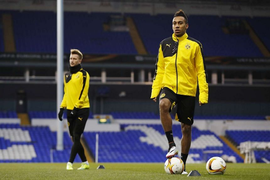 Borussia Dortmund's Pierre Emerick Aubameyang during training.