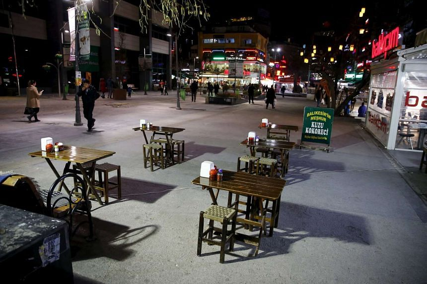 Empty tables are seen on Sakarya Street in Ankara, Turkey, in the aftermath of the bombing, on March 15, 2016.