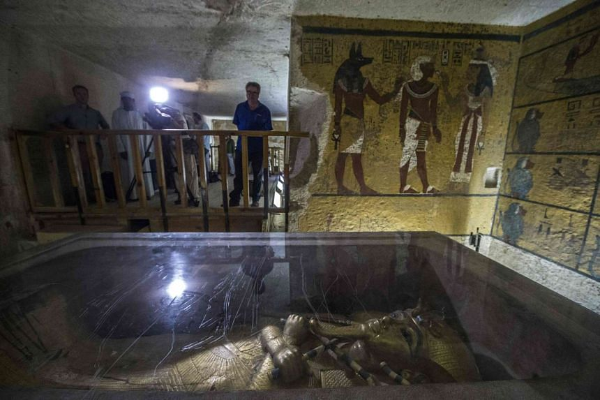 Scans of the tomb of pharaoh Tutankhamun (burial chamber pictured) showed that there is a high chance there are two hidden chambers.