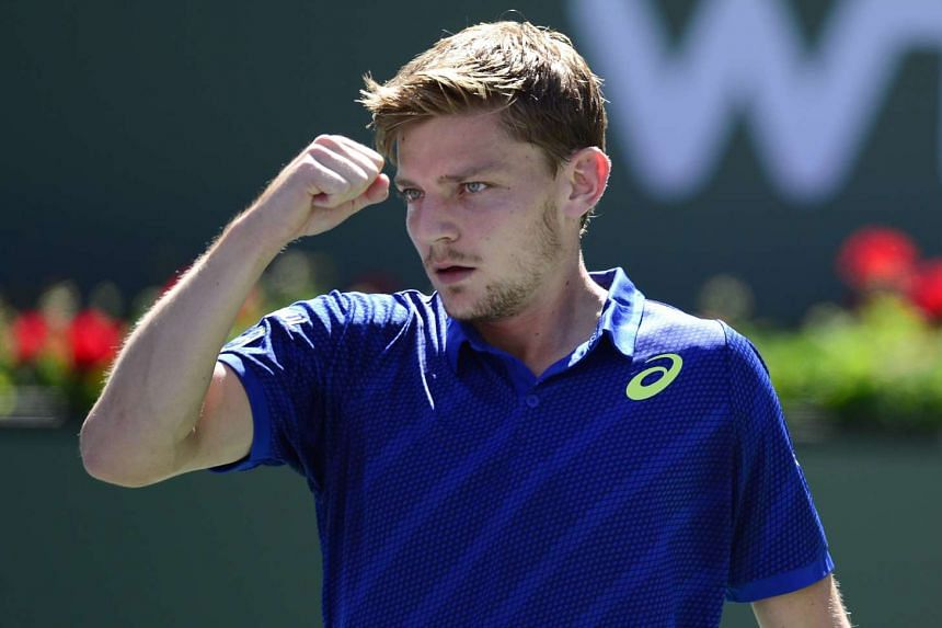 Goffin celebrates a point against Stan Wawrinka during their fourth round match.