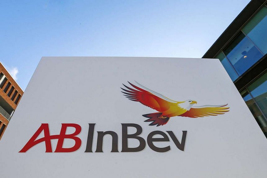The logo of Anheuser-Busch InBev is pictured outside the brewer's headquarters in Leuven, Belgium.