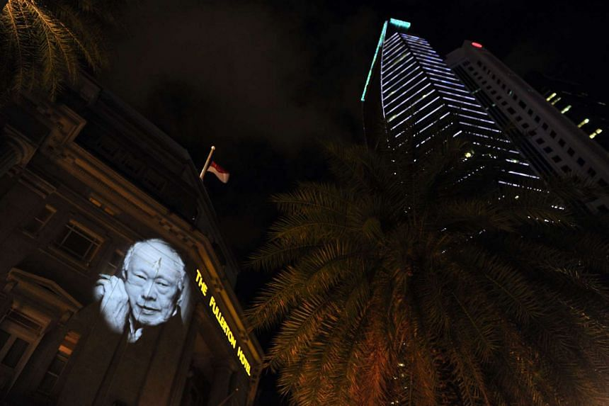 A tribute to Mr Lee Kuan Yew at The Fullerton Hotel on March 27, 2015.