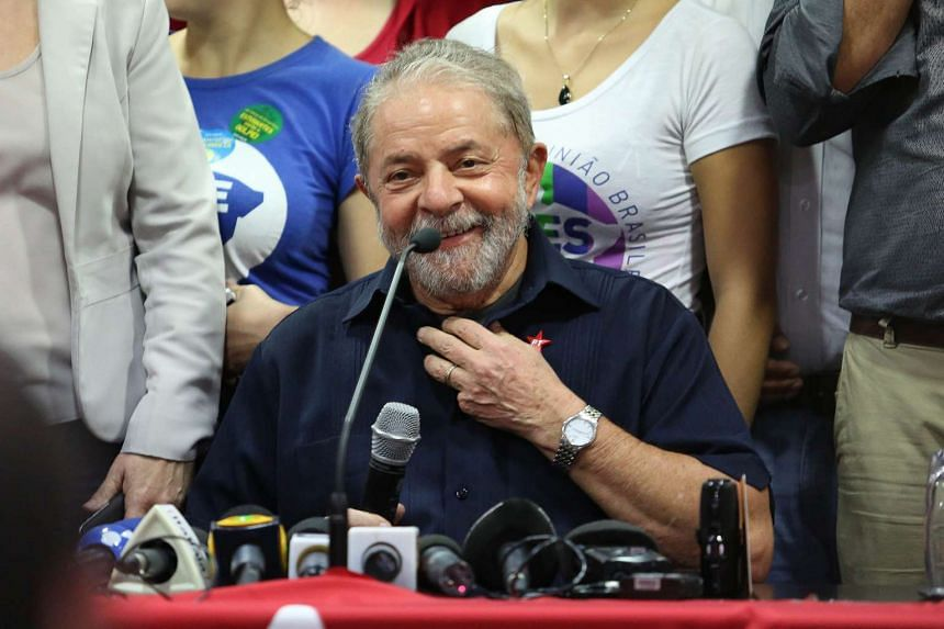 A picture made available March 16, 2016, shows former Brazilian President Luiz Inacio Lula da Silva during a press conference.
