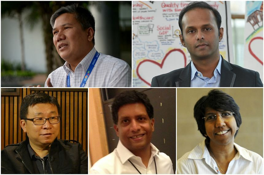 The five newcomers among the nine Nominated MPs are (clockwise, from top left) Mr Azmoon Ahmad, Mr Mahdev Mohan, Ms K. Thanaletchimi, Mr Ganesh Rajaram and Mr Kok Heng Leun.