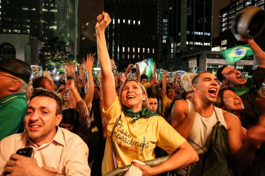 People protest the appointment of the former president Luiz Inacio Lula da Silva as chief of staff in Sao Paulo, March 16, 2016.