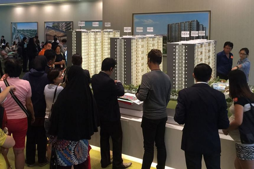 Potential buyers at the showflat of Wandervale EC in Choa Chu Kang, which was launched earlier this month.