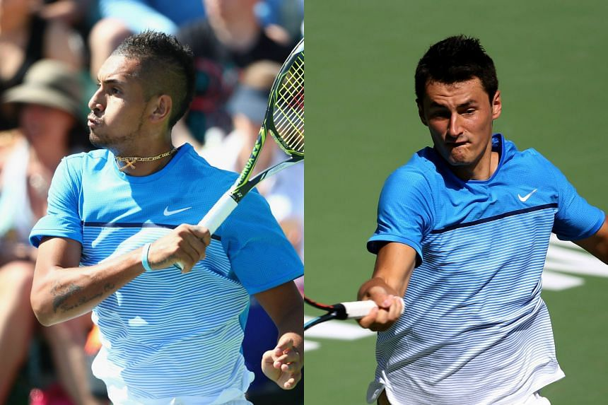 Australian Tennis players Nick Kyrgios (left) and Bernard Tomic.