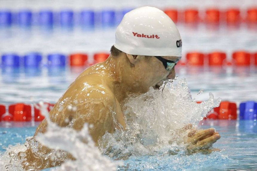 Lionel Khoo swims in the (15 & over A) men's 100m breaststroke final on March 18, 2016.