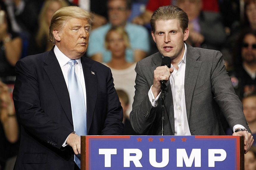 A threatening letter containing a granular substance was sent to Donald Trump's son Eric Trump (right).