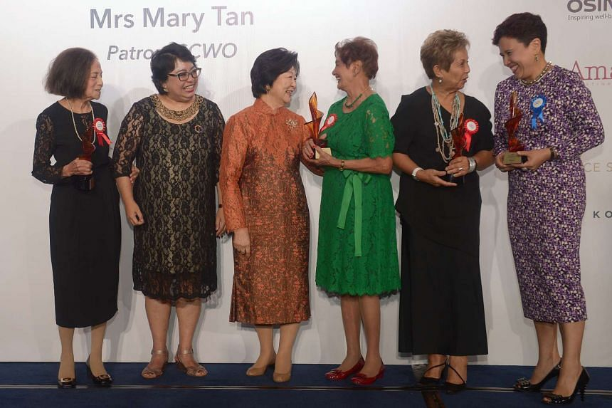 (From left) Ms Eleanor Ann Clunies-Ross, Ms Malathi Das, Mrs Mary Tan, Ms Mary Beatrice Klass, Ms Janet Jesudason and Ms Claudine Rodrigues at the Gala dinner at Shangri-La on March 18, 2016.