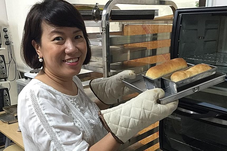 Ms Michelle Koh learning to bake bread at ITSI Baking Studio.