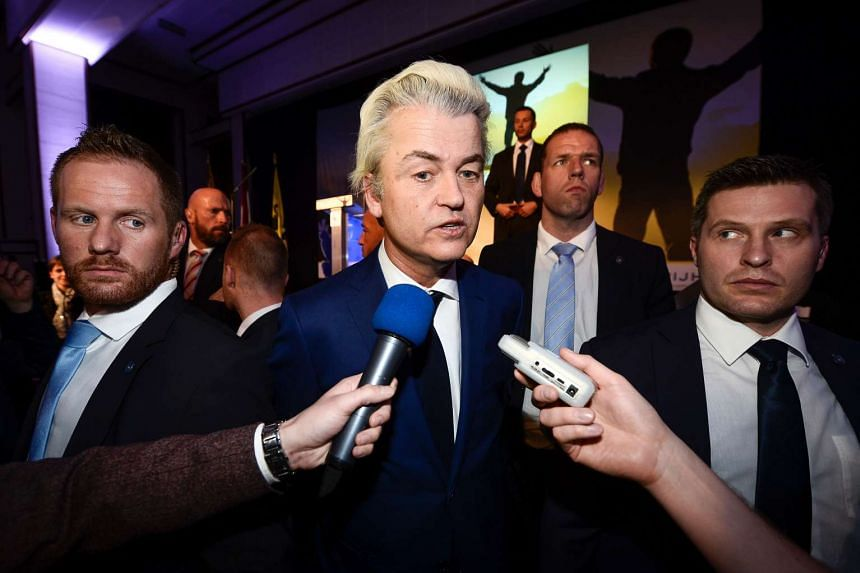 Dutch far-right Freedom Party leader Geert Wilders talks to the press on March 4, 2016.