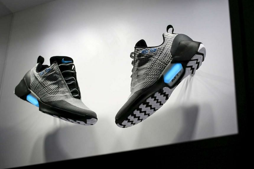 The Nike HyperAdapt 1.0 self-lacing shoe is displayed during a Nike unveiling event in New York, on March 17, 2016.