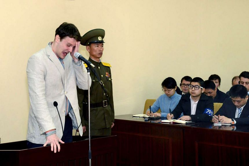 US student Otto Warmbier cries at court in North Korea, in this photo released by North Korea's Korean Central News Agency, on March 16, 2016.