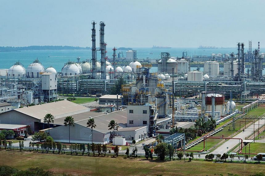 Oil refineries and other heavy industrial plants on Jurong Island.