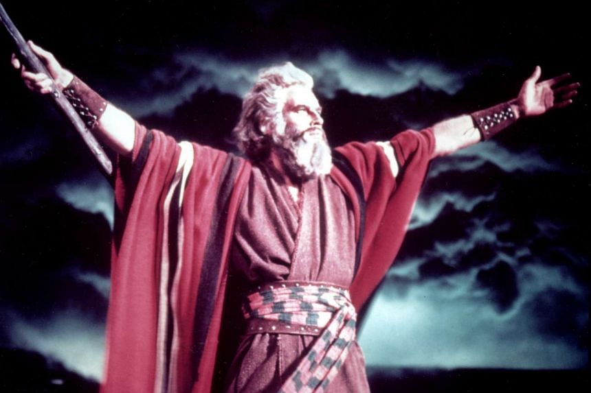 Charlton Heston as Moses in The Ten Commandments.