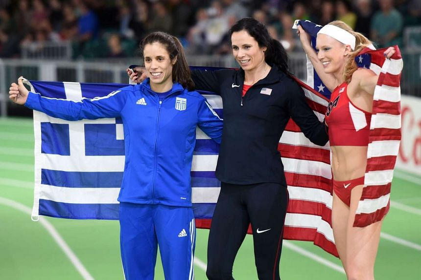 (From left) Greece's Ekaterini Stefanidi and Americans Jennifer Suhr and Sandi Morris celebrating at the IAAF World Indoor athletic championships in Portland, Oregon, on March 17.
