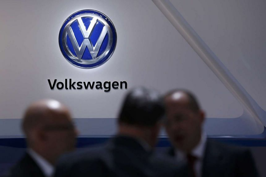 A logo of Volkswagen is pictured on the wall at the 86th International Motor Show in Geneva, on March 1, 2016.