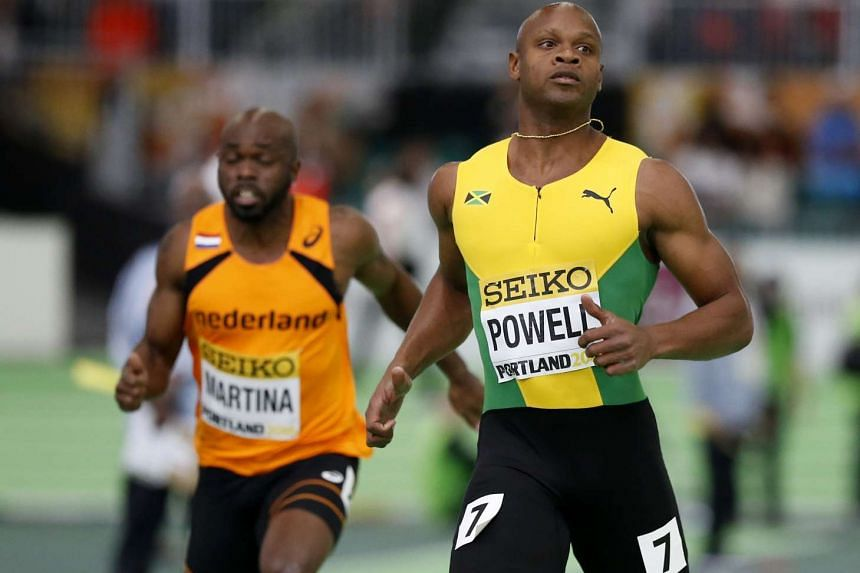 Asafa Powell of Jamaica runs in a men's 60 meters heat during the IAAF World Indoor Athletics Championships in Portland, Oregon on March 18, 2016.