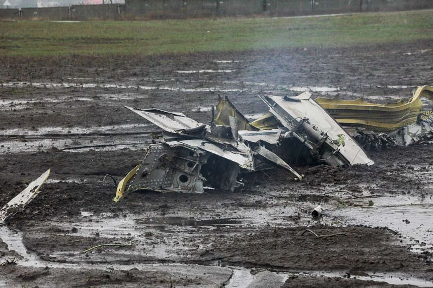 Wreckage of the crashed Flydubai plane on March 19, 2016.