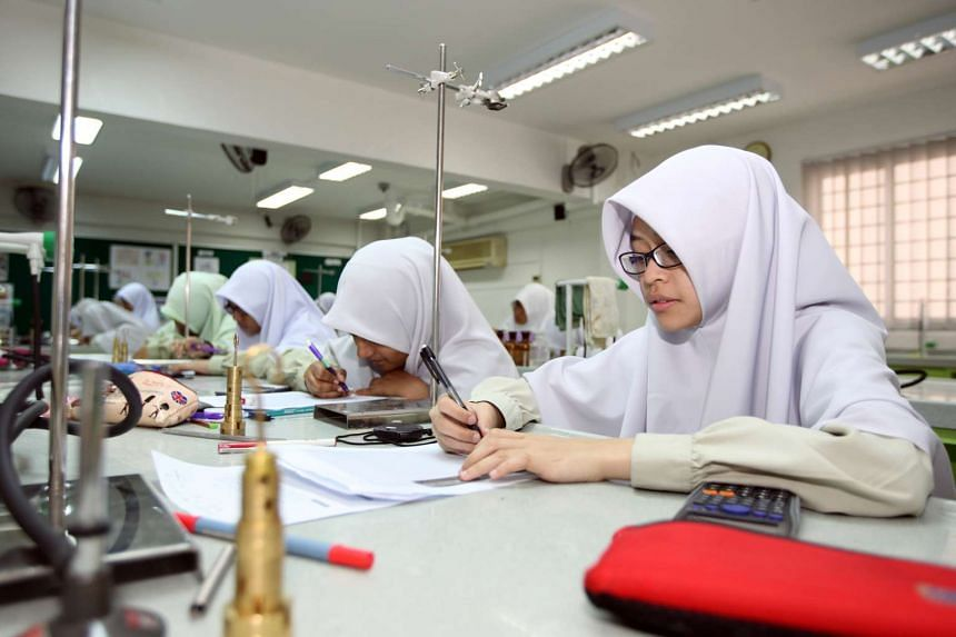 Students at a madrasah, or Islamic religious school.