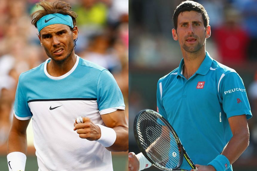 Nine-time French Open champion Rafael Nadal (left) and world No. 1 Novak Djokovic will meet in a semi-final clash at Indian Wells, California.