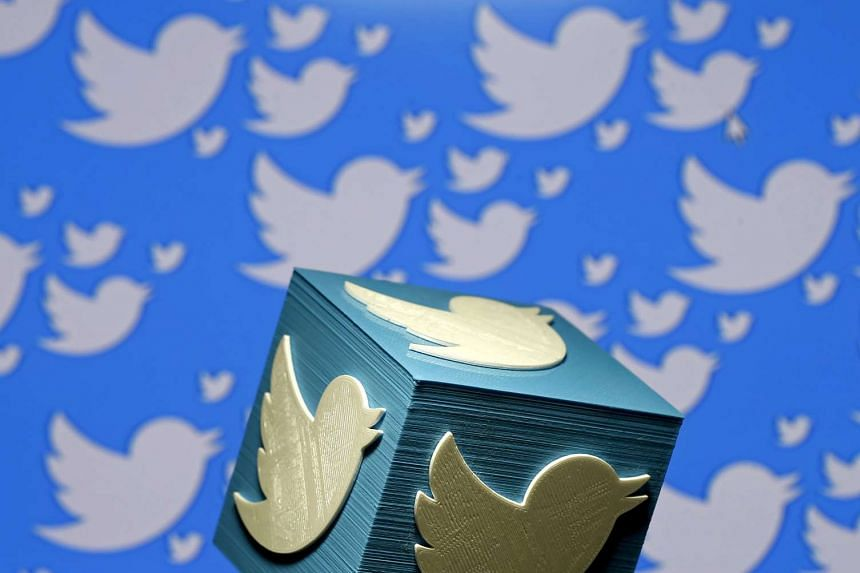 A 3D-printed logo for Twitter is seen in a picture illustration.