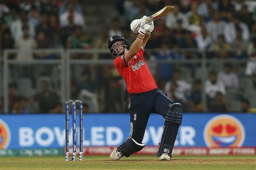 England's Joe Root lofting a ball during his match-winning innings of 83 against South Africa in the World Twenty20 game in Mumbai on Friday.