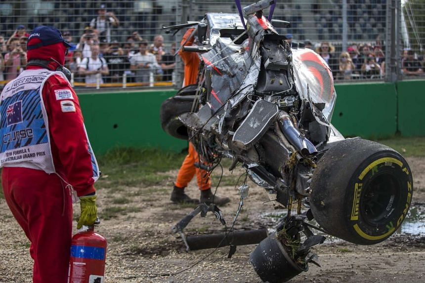The destroyed McLaren car of Fernando Alonso after crashing at the Australian GP.