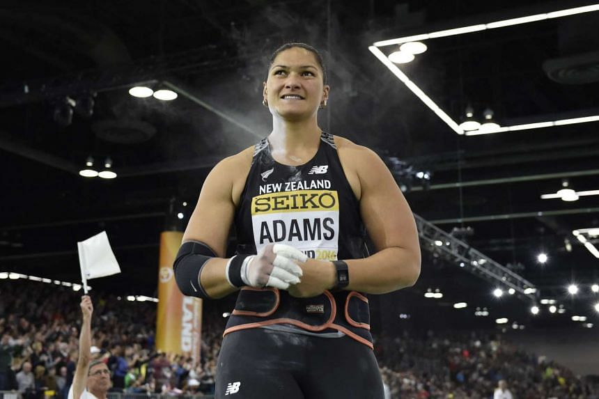 Valerie Adams of New Zealand during the women's shot put final at the IAAF World Indoor Championships in Portland, Oregon on March 19, 2016.