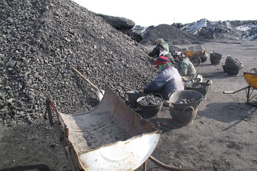 Workers at Shuangyashan Mine, owned by Longmay Group, in Shuangyashan, Heilongjiang province, on March 15, 2016.