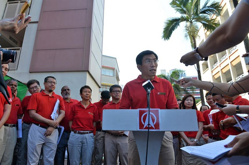 SDP chief Chee Soon Juan addressing the media after the party announced that he would be contesting in the Bukit Batok by-election.