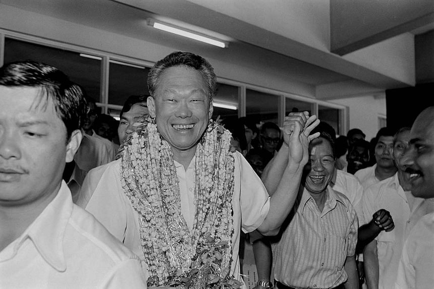 Then Prime Minister Lee Kuan Yew on Nomination Day 1976 after he filed his nomination papers at the Singapore Polytechnic.