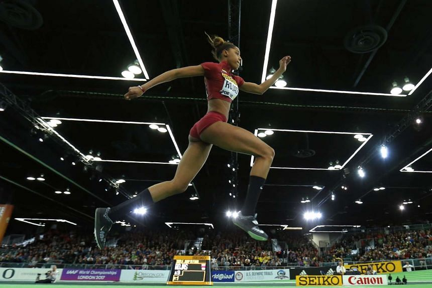 Yulimar Rojas of Venezuela competes in the women's triple jump.