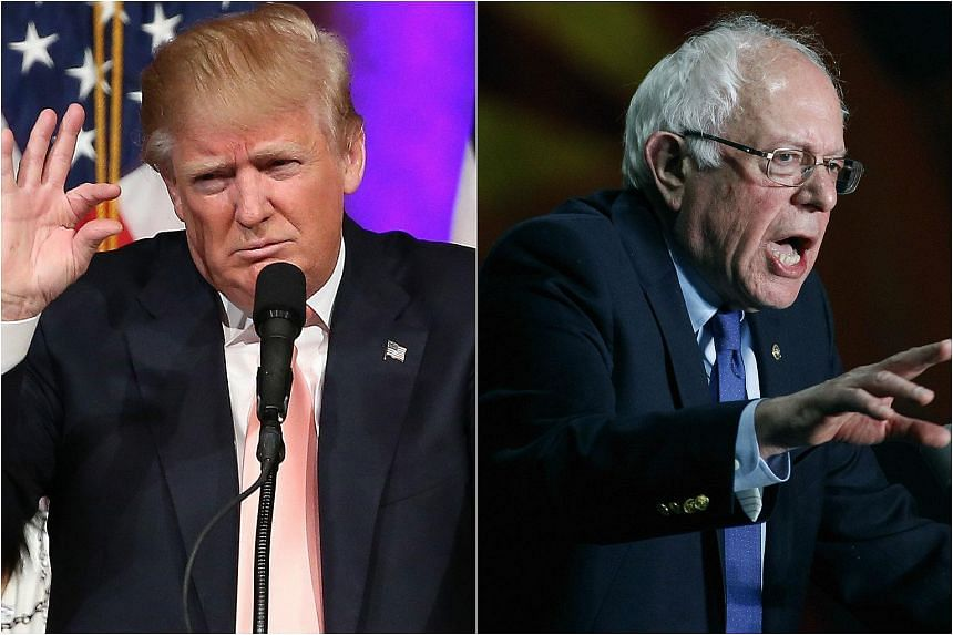US presidential candidates Donald Trump (left) and Bernie Sanders.