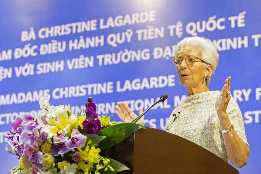 IMF Managing Director Christine Lagarde speaking at the National Economics University in Hanoi on March 17, 2016.