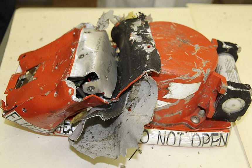 A flight recorder from the crashed Boeing 737-800 Flight FZ981 operated by Dubai-based budget carrier Flydubai, is seen in this handout photo.