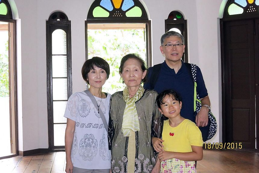 Ms Yoshida (second from left) with daughter Akemi Saito, 50, granddaughter Mayu, nine, and son-in-law Hiroshi Saito, 54.