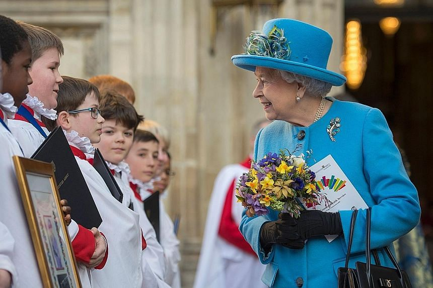 Britain's Queen Elizabeth at a Westminster Abbey service on March 14. Some people have been so excited upon meeting her that they fainted, said Prince William.