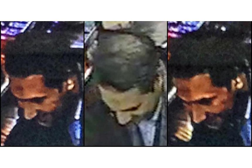 A combo photograph of Najim Laachraoui made available by the Belgium Federal Police, during a money transfer in a Western Union bank in Brussels.