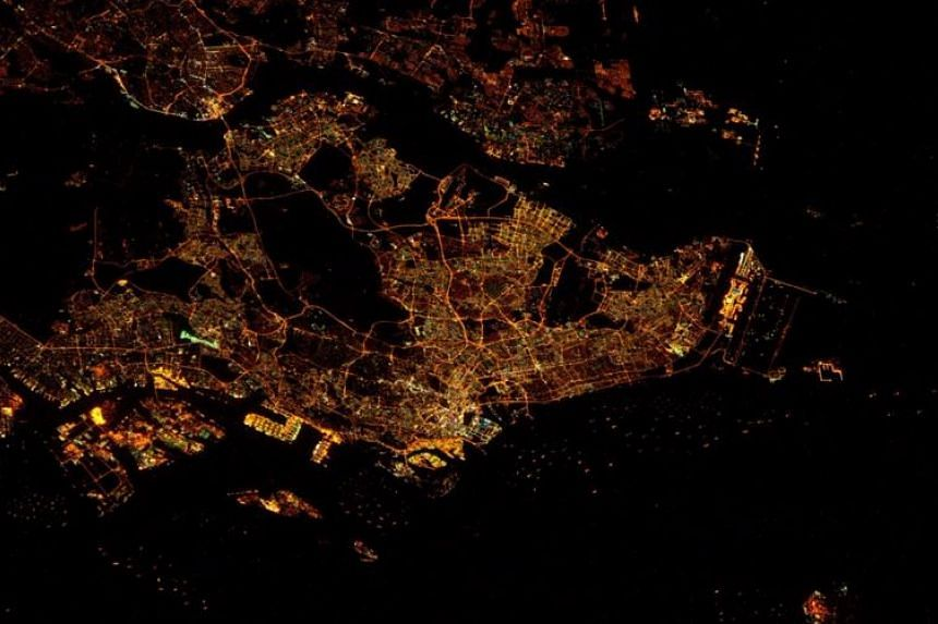 US astronaut Tim Kopra's night photo of Singapore, taken from the orbiting International Space Station.