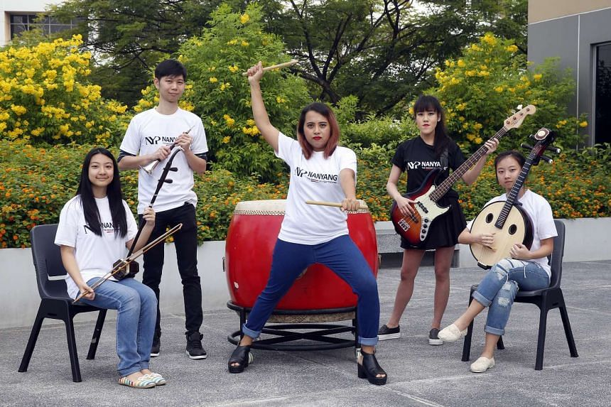Past and present members of the NYP Chinese Orchestra include (from left) student Adelina Wong, 19; alumni Alex Shieh, 29, Siti Farah Mohd Jaffar and Quek Li Hui; and student Chloe Quek.