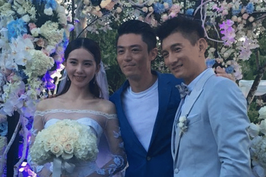 The couple with one of their guests, actor Wallace Huo.