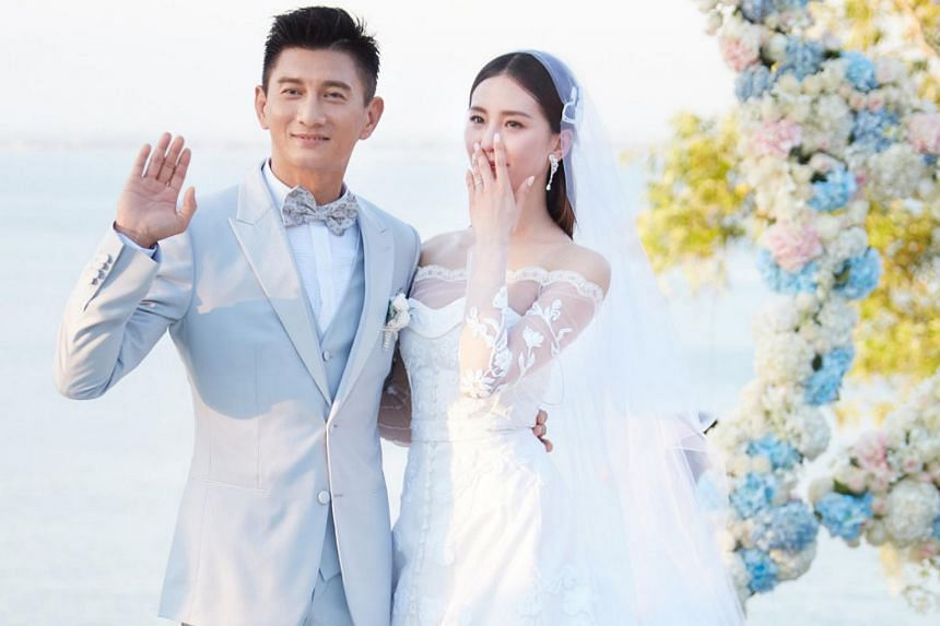 Nicky Wu (left) and Liu Shishi during their wedding ceremony at Ayana Resort and Spa in Bali.
