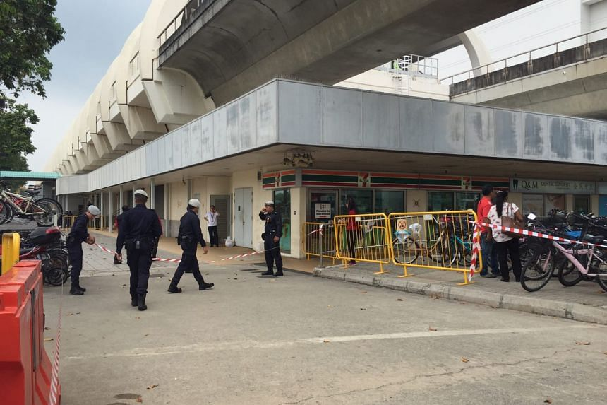 A section of Pasir Ris MRT station being cordoned off.