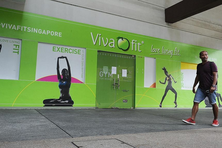Vivafit closed its branches in Marine Parade (left), Tanjong Pagar and Raffles Place last Saturday. The Clementi branch was closed last month. However, two franchise branches in Bukit Merah Central and Beach Road are still open.