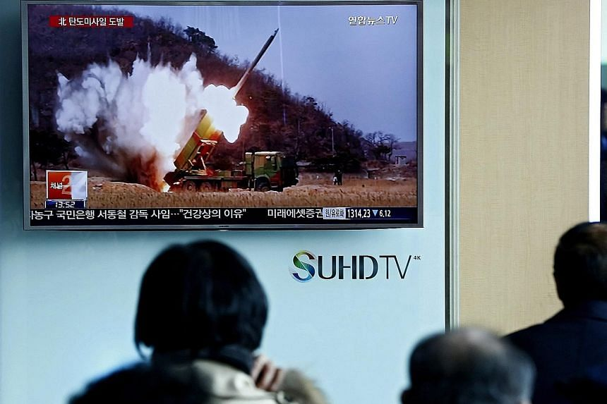 South Koreans watching news about North Korea's launch of a ballistic missile last Friday. The spate of missile launches has added urgency to an upcoming summit in Washington that will see world leaders discussing nuclear non- proliferation.