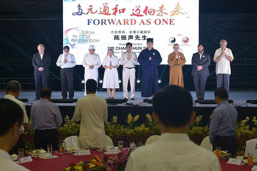 Representatives of nine religions in the Inter-Religious Organisation - Baha'i, Buddhism, Christianity, Hinduism, Islam, Jainism, Judaism, Sikhism and Taoism - praying for peace and harmony in Singapore. Yesterday's event was a fitting way to remembe